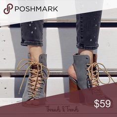 Camilla Lace Up Peep Toe Booties Camilla Wispy grey lace up, peep toe, open back booties. Gorgeous color contrast of camel color chunky heel and faux leather lace. Pre order now arrives soon. Threads & Trends Shoes Ankle Boots & Booties