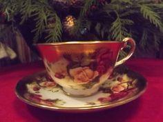 Royal Chelsea Golden Rose English Bone China Teacup and Saucer Vintage 1950s