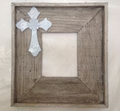 Gorgeous handmade whitewashed distressed barn wood 8x10 picture frame with pale blue wooden cross.. $64.00, via Etsy.