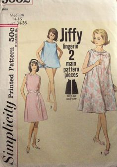 60s lingerie sewing pattern  Mad Men era nightgown by MySoftParade, $10.00