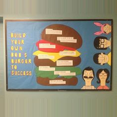 """beautyshouldlookso: """"Build Your Own #Bob'sBurgers to Success! So proud of my new #bulletinboard! I drew everything except the words! #ResLife #AcademicAchievement #RA """""""