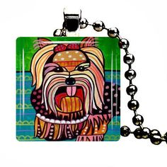Lhasa Apso Charm Necklace Dog Tag Jewelry Silver Glass Christmas Gift Folk Art