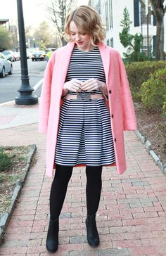 Bloggers We Love: Poor Little It Girl  - Gap Navy & White Striped Dress, Topshop Pink Wool Coat and Sole Society Black Booties
