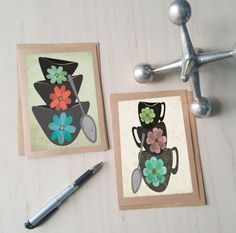 Artist Shanni Welsh's Mid Century mixing bowls and tea cups notecard set. Retro art.