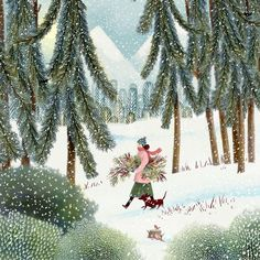 Jane Newland art woman walking with her dog through snowy woods, Art Dog Jane Newland . : Jane Newland art woman walking with her dog through snowy woods, Art Dog Jane Newland snowy walking winterwomenillustration woman woods Jane Newland woman Art And Illustration, Illustration Mignonne, Christmas Illustration, Medical Illustration, Art Fantaisiste, Snowy Woods, Photo Images, Winter Walk, Winter Love