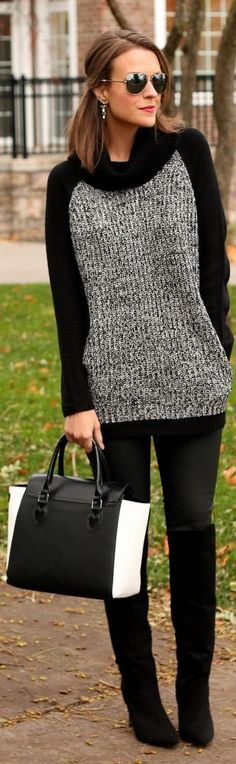Long block sweater with black boots and black leggings. Looking #calm and #cool.