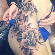 Thigh/Hip rose tattoo