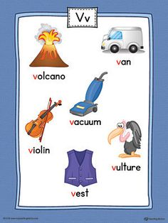 Letter V Word List with Illustrations Printable Poster (Color) Worksheet.Use the Letter V Word List with Illustrations Printable Poster to play letter sound activities or display on a classroom wall. Alphabet Letter Crafts, Alphabet Words, Alphabet Pictures, Alphabet For Kids, Alphabet Charts, Arabic Alphabet, English Alphabet, Learning English For Kids, English Worksheets For Kids