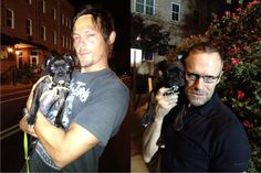 """From Michael Rooker's Facebook fan page """"Real men cuddle puppies."""" :)  Michael Rooker & Norman Reedus from the Walking Dead."""