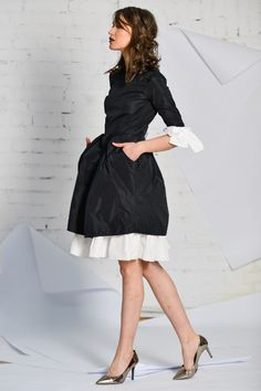 black and white taffeta dress