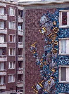 Street Art By Pixel Pancho For Day On Urban Art Festival In Antwerp, Belgium.