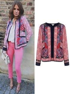 Millie Mackintosh wearing a Monsoon jacket with bright pink jeans on her millie mackintosh style diary