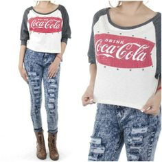 ebclo - Studded with Rhinestones Crop Top Raglan Sleeves Coca Cola Graphic NEW $22.00 Free Domestic Shipping