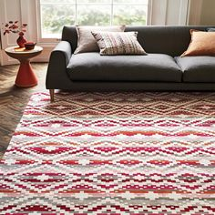 Romo Takana Multi Rug An eye-catching, decorative geometric sits playfully on colourful stripes, enriched by a tactile chenille weave. Interior Stylist, Rugs, Weave, Design, Stripes, Home Decor, Studio, Products, Homemade Home Decor