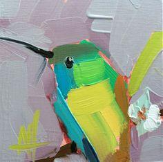 Hummingbird no. 150 Original Bird Oil Painting by Angela Moulton 4 x 4 inch on Birch Plywood Panel pre-order by prattcreekart on Etsy