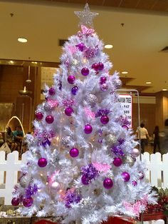 I used to not be a fan of white Christmas trees. Now this was a while ago when I was a child in the early I associated white Christmas . White Christmas Tree Decorations, Purple Christmas Tree, Beautiful Christmas Trees, Noel Christmas, Holiday Tree, Xmas Tree, Silver Christmas, Victorian Christmas, Christmas Mantles