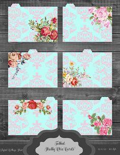 Tabbed Shabby Chic Flower Cards Digital Printable par ItGirlDigital