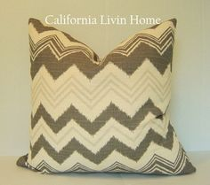 Ziggy Pillow Cover / 18x18 / Taupe / Decorative Pillow / Ships Next Day / Designer Fabric. $25.00, via Etsy.