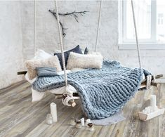 Who else loves this hanging bed? Shop our Merino Wool Blanket in the colour 'Cornflower' . - Architecture and Home Decor - Bedroom - Bathroom - Kitchen And Living Room Interior Design Decorating Ideas - Room Design Bedroom, Room Ideas Bedroom, Cozy Bedroom, Home Decor Bedroom, Loft Interiors, Types Of Beds, Bedding Shop, Dream Rooms, My New Room