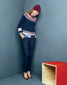 J.Crew hand-knit Fair Isle sweater, Eaton Boy trouser in bi-stretch wool and the Collection Everly Calf Hair pumps.