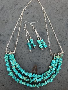 3 Tiered Turquoise Chip And Silver Necklace and by BeriMadeJewelry, $21.00