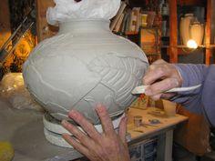 Jemerick applying texture sculpting altering technique tip process pottery ceramics clay nouveau arts crafts