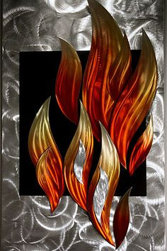 Wilmos Kovacs Flames Fire Metal Wall Sculpture Abstract Art Decor Painting W619 | eBay
