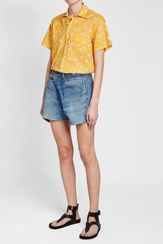 R 13 Printed Cotton Shirt Yellow Fashion, Printed Cotton, Denim Shorts, Yellow Style, Prints, Shopping, Shirt, Women, Clothing