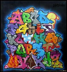 This is Graffiti Alphabet Letters by Vizion. Graffiti alphabets in each letter has its own style. Graffiti alphabet A-Z's cool. Graffiti Text, Graffiti Lettering Alphabet, Graffiti Drawing, Graffiti Murals, Doodle Lettering, Graffiti Styles, Creative Lettering, Street Art Graffiti, Typography
