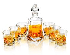 Whiskey Decanter And Glasses Set, LANFULA Premium Lead Free Crystal Liquor Decanter with 6 Scotch Tumblers for Bourbon, Whisky and Alcohol, Ideal Gift for Birthday/Anniversary/Wedding, Piece Whiskey Decanter, Whiskey Glasses, Whiskey Bottle, Crystal Decanter, Old Fashioned Glass, Star Wars Gifts, Whisky, Liquor, Crystals