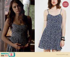 Elena's blue floral mini dress on The Vampire Diaries. Outfit Details: http://wornontv.net/21616 #TheVampireDiaries
