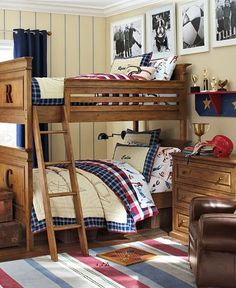 """Love the """"Bed-Monograms"""" and the shelf with the trophy, penant and batting helmet (fyi...These B&W pics aren't my fave for some reason.)"""