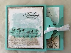 Stampin' in the Sand: Wetlands Thinking of You featuring Painters Tape Technique and Tag Topper Punch Closure