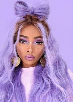 Blue Wigs Lace Hair Lace Frontal Wigs Pink Bob Wig Transparent Lace Human Hair Wigs African American Lace Front Wigs With Baby Hair Doubles Chignons, Pretty Hairstyles, Wig Hairstyles, Curly Hair Styles, Natural Hair Styles, Lavender Hair, Aesthetic Hair, Lace Hair, Grunge Hair