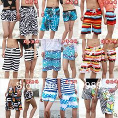 Free shipping 2013 summer fashion men/women hot surf couple shorts swimwear beach board shorts $14.45