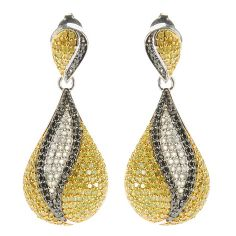 138-858 - Diamond Treasures Sterling Silver 1.25'' 1.97ctw Multi Diamond Teardrop Earrings