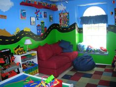 """boys playroom 1 """"danger, construction zone"""" boys play game bed room truck construction wall mural road way hand painted custom"""