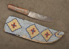 Native American Beaded Knife Sheath and Knife.