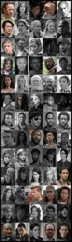 The Walking Dead - black and white cast photos - dead, colored cast photos - alive (except Tyrese, this must have been made before he died)