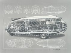 Buckminster Fuller and Chuck Byrne, Motor Vehicle-Dymaxion Car, United States Patent Office no. 2,101,057, from the portfolio Inventions: Twelve Around One, 1981; screen print in white ink on clear polyester film; 30 in. x 40 in. (76.2 cm x 101.6 cm); Collection SFMOMA, gift of Chuck and Elizabeth Byrne; © The Estate of R. Buckminster Fuller, All Rights reserved. Published by Carl Solway Gallery, Cincinnati.