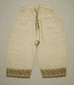 Trousers   Date: 16th century   Culture: Italian Medium: linen, silk and metal thread