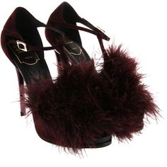 ROGER VIVIER Sandals ($1,180) ❤ liked on Polyvore featuring shoes, sandals, heels, stiletto heel sandals, burgundy shoes, feather heeled sandals, open toe high heel sandals and high heels sandals