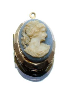 Blue Cameo Lady & Gold Coloured Photo Picture Locket Pendant (no chain) c1970s by GillardAndMay on Etsy