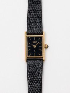 Vintage Citizen Black/Gold Ladies' Reptile Leather Band Watch