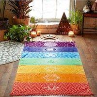 Wish | (This isn't a towel.)75 * 150CM Beach Towels Rainbow Stripes Scarf Bohemia Wall Hanging India Mandala Blanket 7 Chakra Colored Tapestry Summer Boho Beach Towel Yoga Mat