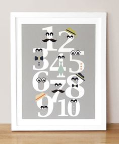 Mustache numbers= awesome! (fun nursery or little boys room art idea)