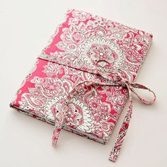 Fabric covered journal - 1/2 yd. each of print fabric and white flanner for interling... (opt. 1/8 yd. for tie)