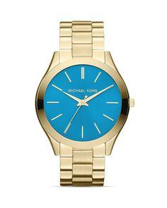 Michael Kors Gold-Tone & Blue Slim Runway Three-Hand Watch, 42mm   Bloomingdale's