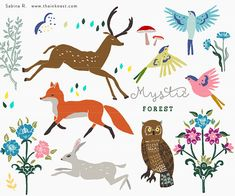 Mystic forest is an enchanted set inspired by dark woods and persian damasks. Illustrated by Sabina Radeva.  The CLIP ART set contains: – 17 separate