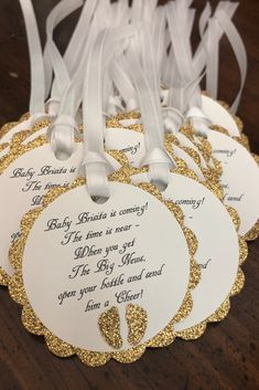 Gold and white gender neutral baby shower party favor tags Baby Shower Party Favors, Party Favor Tags, Baby Shower Parties, Baby Shower Themes, Baby Boy Shower, Baby Shower Decorations, Second Baby Showers, White Baby Showers, Gold Birthday